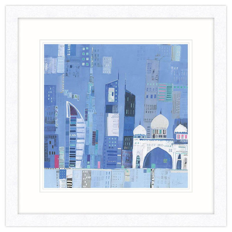 Dubai Skyline Art Framed Print