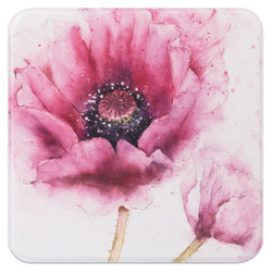 Purple Poppy Floral Notelet Tin