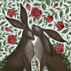 Hare & Red Roses Print
