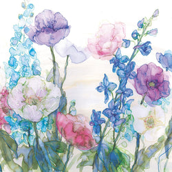 Pale Poppies & Delphiniums Print