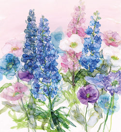 Blue Delphiniums & Poppies Print