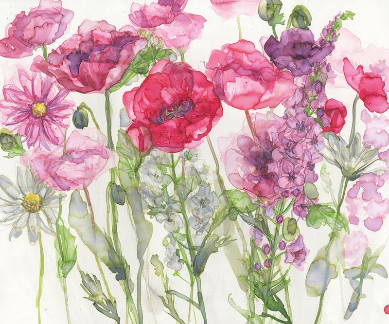Poppies, Verbascum and Daises Floral Art Print