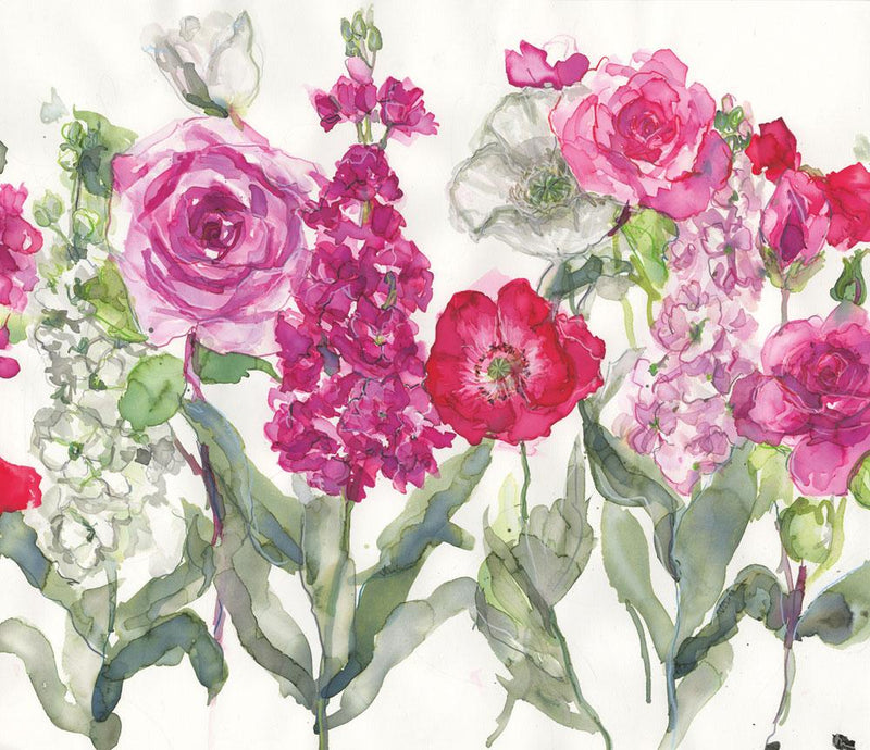 Stocks, Rose and Poppies Floral Art Print