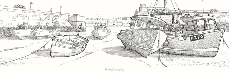 Boats at Newquay Print