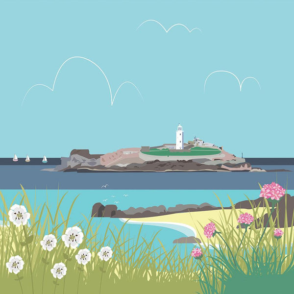 Colourful Godrevy Art Print