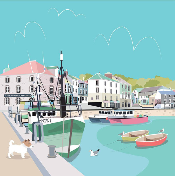 Colourful Padstow Large Art Print