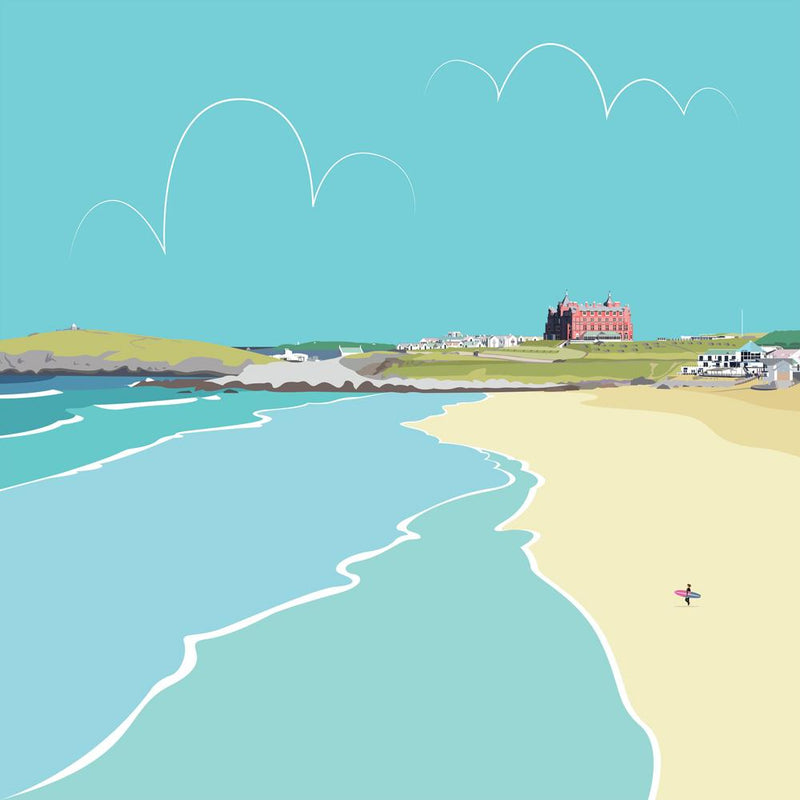 Newquay Fistral Beach Coastal Art Print