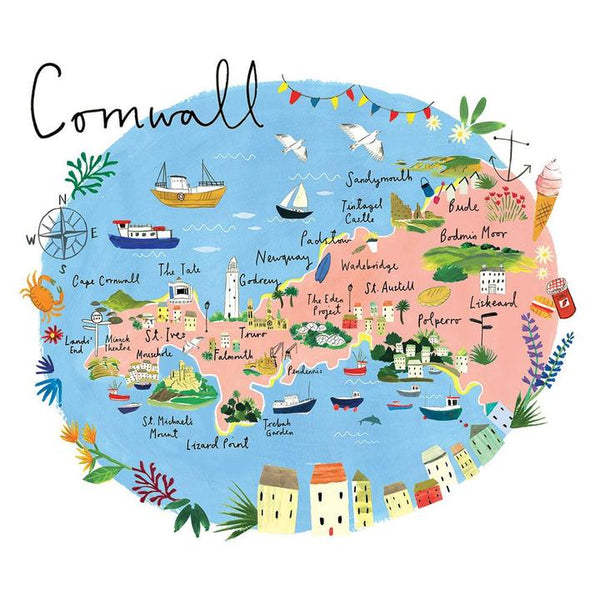 Cornwall Map Art Print