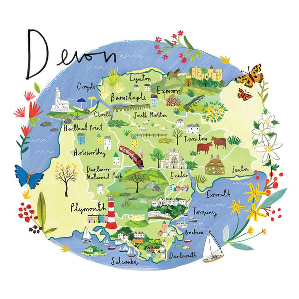 Devon Map Art Print