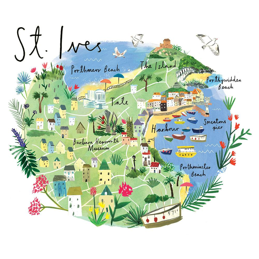Map Of St Ives St Ives Map Art Print | Whistlefish
