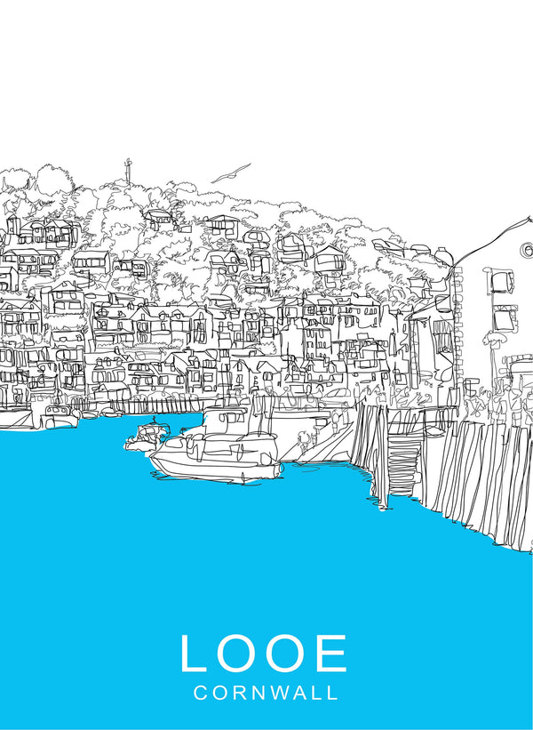 Looe Harbour Travel Print