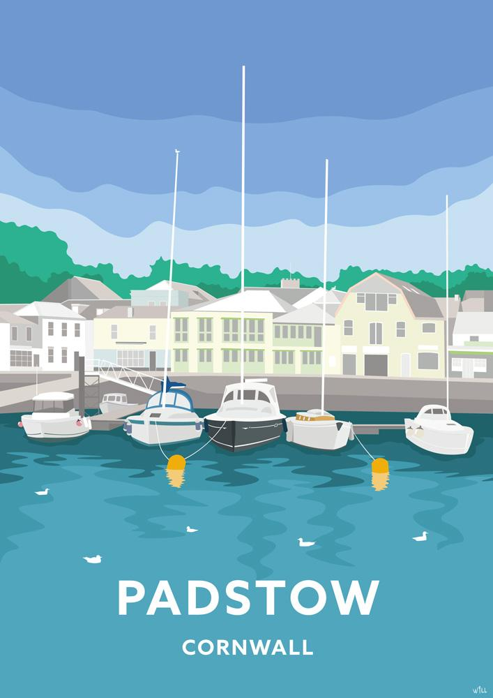 Blue Skies Padstow Travel Art Print