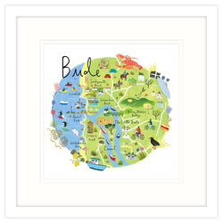 Bude Map Framed Print