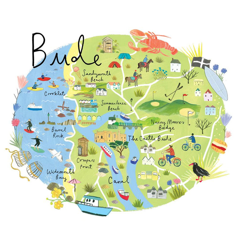 Bude Map Art Print