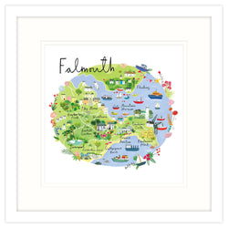 Falmouth Map Framed Print