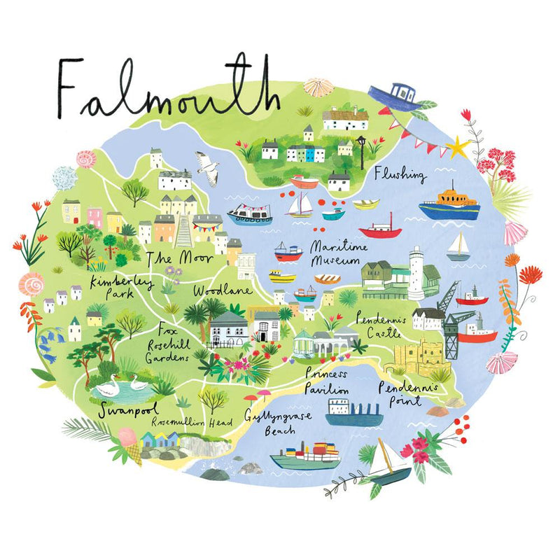 Falmouth Map Art Print