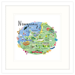 Newquay Map Framed Print