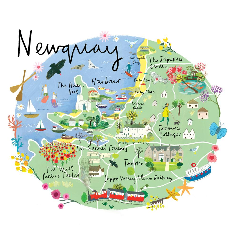 Map Of Newquay Newquay Map Art Print | Whistlefish