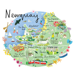 Newquay Map Art Print