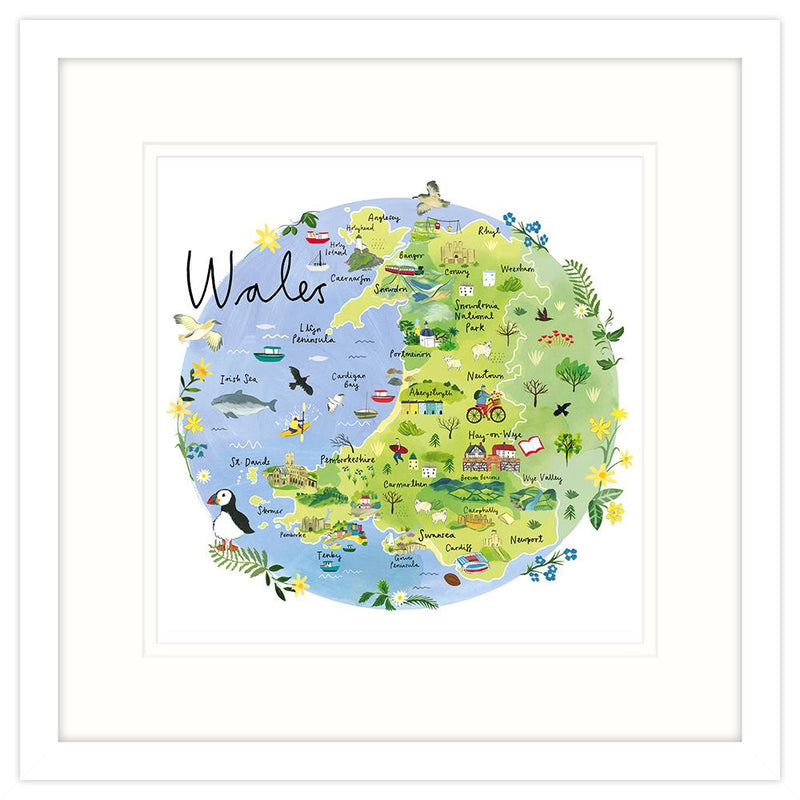 Wales Map Framed Print