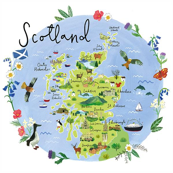 Scotland Map Art Print | Whistlefish