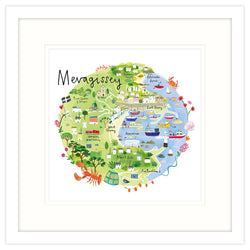 Mevagissey Map Framed Print