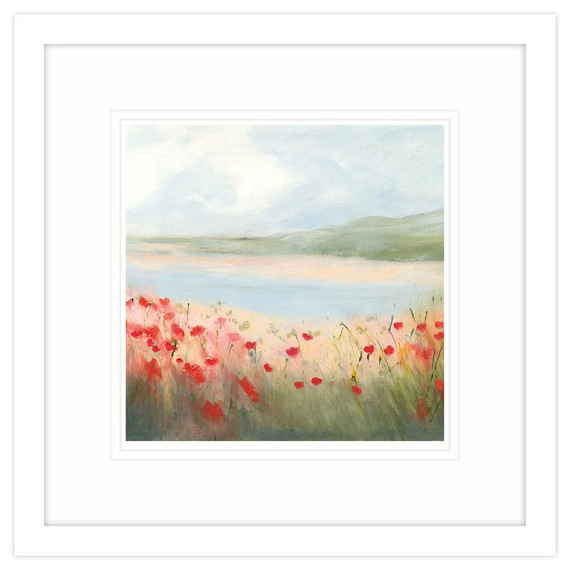Poppies By The Estuary Small Framed Art Print