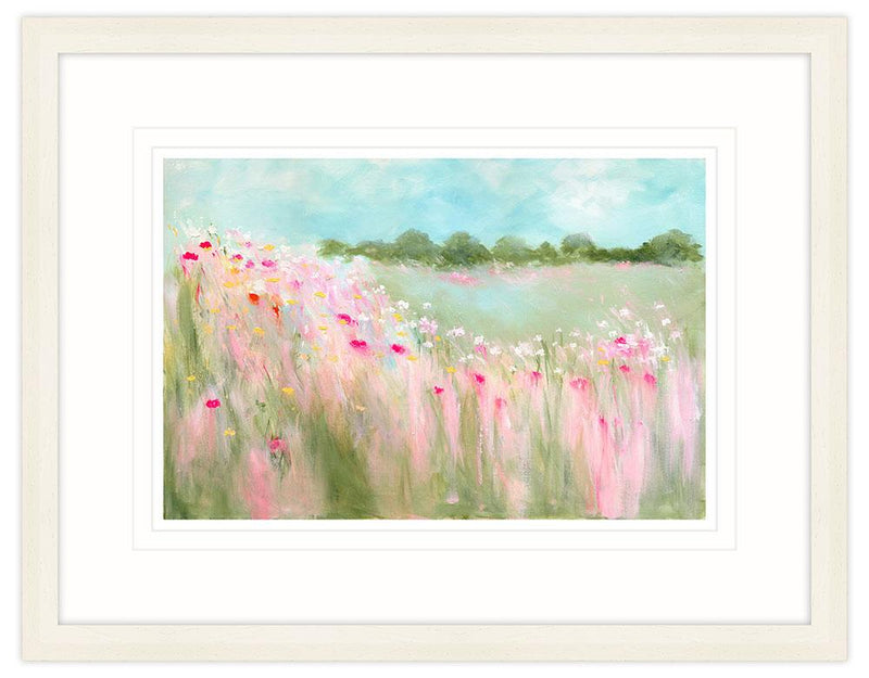 Field Of Blooms Large Framed Art Print (Cream)