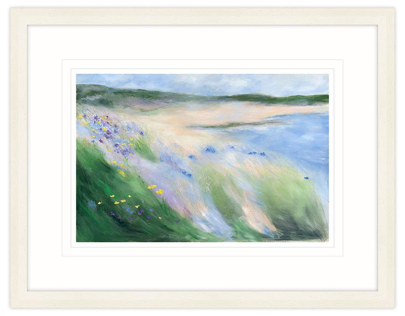 Coastal Blooms Large Framed Art Print (Cream)