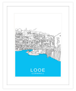 Looe Harbour Framed Travel Print