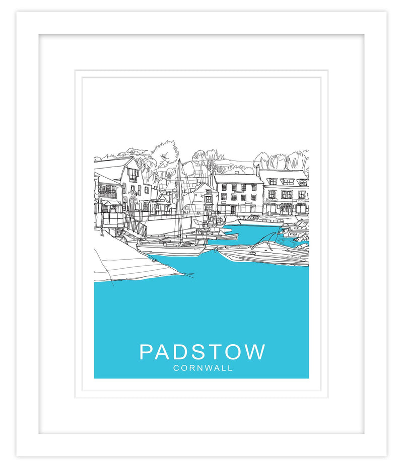 Padstow Cornwall Blue Framed Large