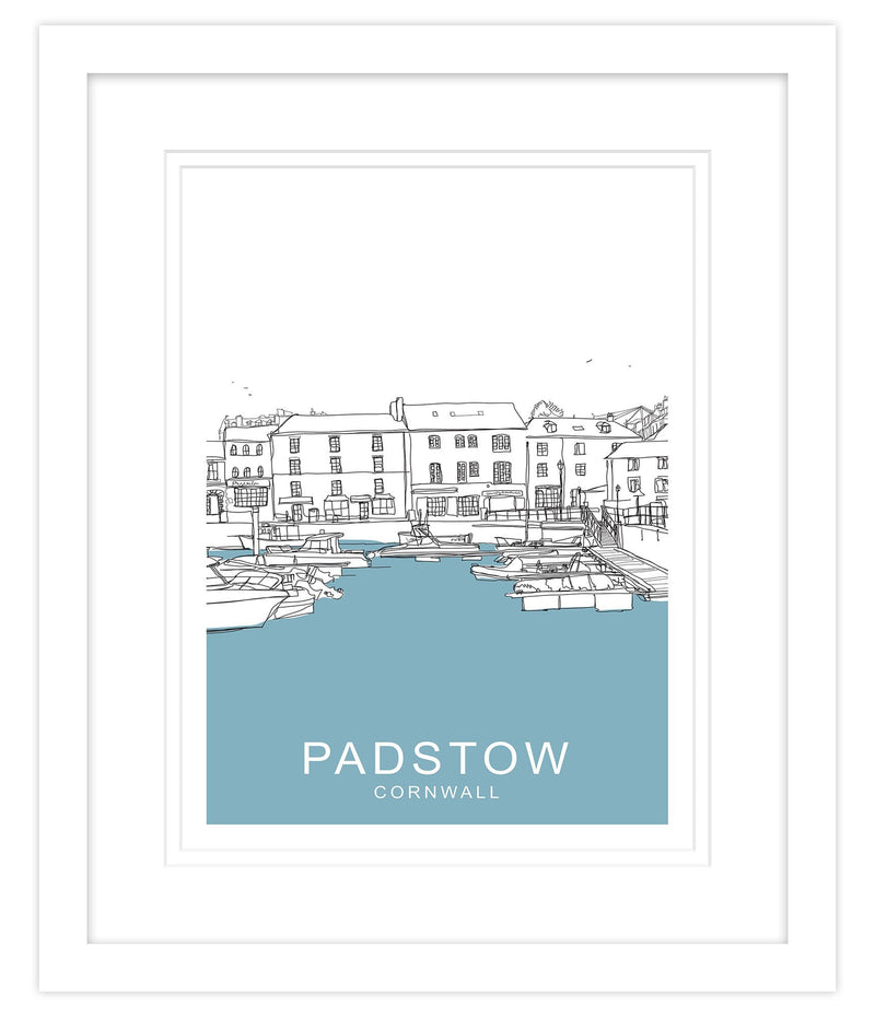 Padstow Blue Framed Large