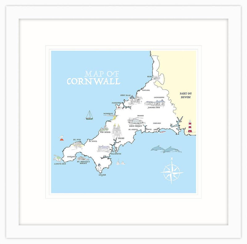 Map Of Cornwall Framed