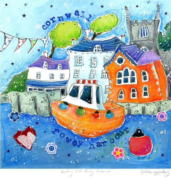 Bunting Over Fowey Art Print