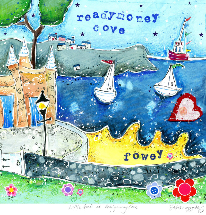 Little Boats At Readymoney Cove Art Print