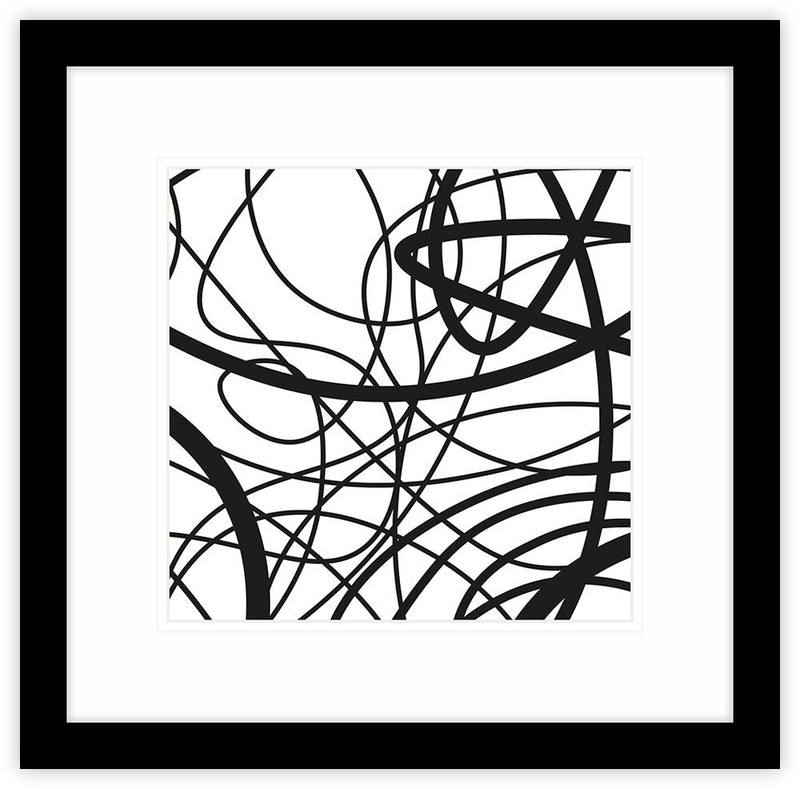 Black Line Panel 3 Framed Print