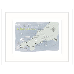 Map Of Cornwall Framed Print