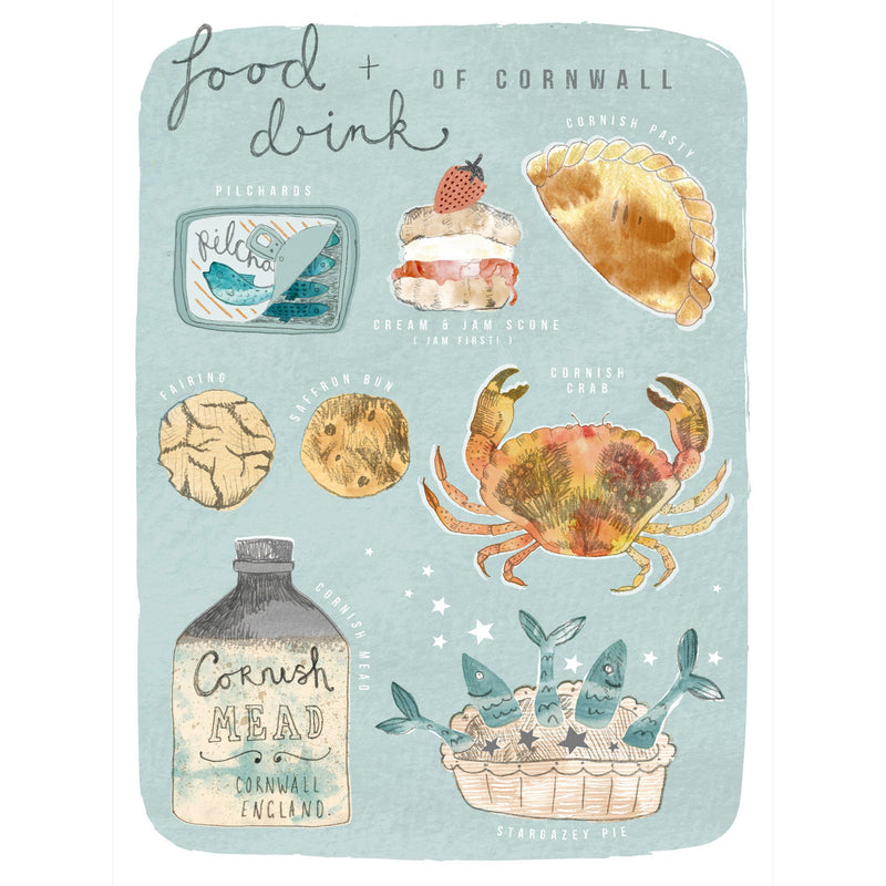 Food & Drink Of Cornwall Art Print