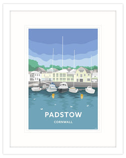 Blue Skies Padstow Travel Art Framed Print