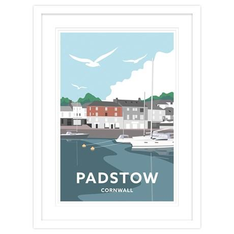 Padstow South Quay Cornwall Framed Art Print (White)