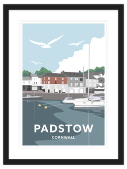 Padstow South Quay Cornwall Framed Art Print (Black)