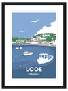 Looe Cornwall Travel Framed Art Print (Black)