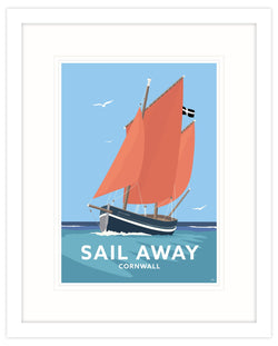 Sail Away Framed Art Print (White)