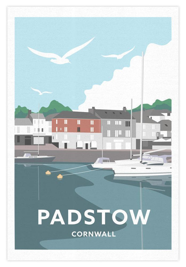 Padstow South Quay Cornwall Tea Towel