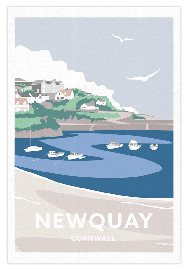 Newquay Harbour Cornwall Tea Towel
