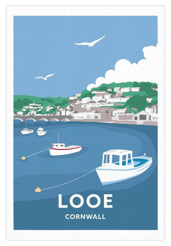 Looe Cornwall Tea Towel