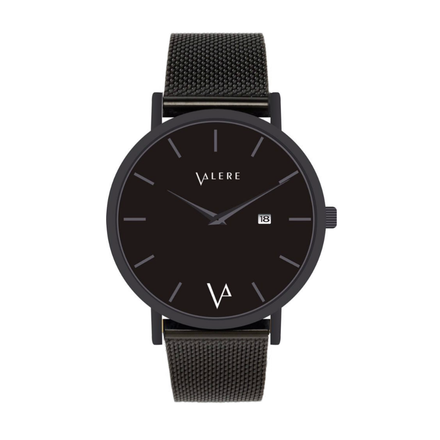 Valere Novus Noir Watch With Black Mesh Strap