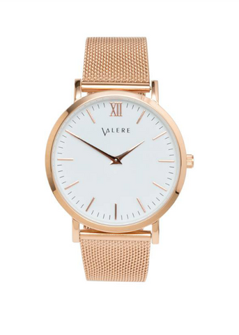 Valere London Primus Rose Gold Watch With Mesh Strap