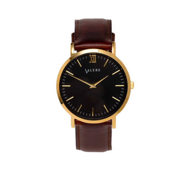 Valere Primus Gold with Brown Leather Strap