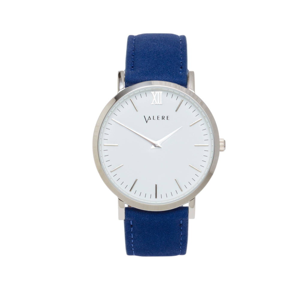 Valere Primus Silver Watch with Blue Suede Strap